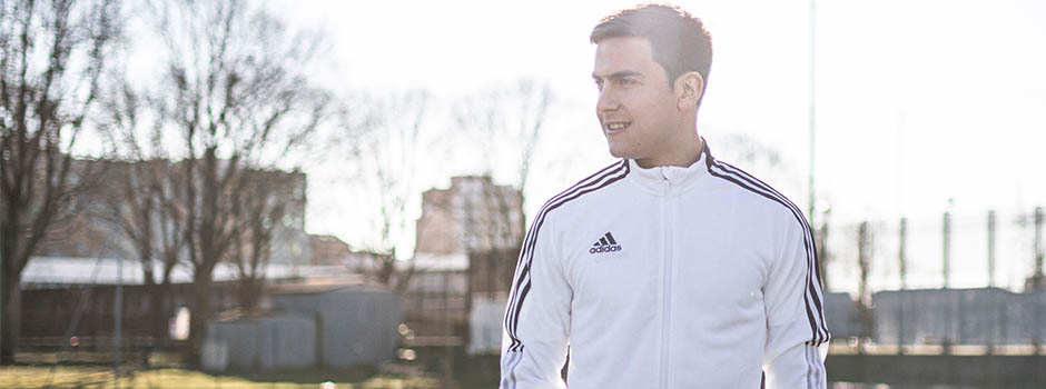 Paulo Dybala close shot in white Adidas jacket, happy to join team Skrill