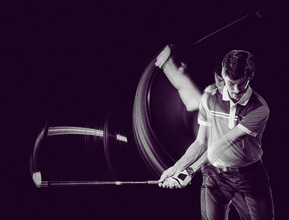 man playing golf, swinging with stick, on dark purple background