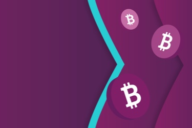 Bitcoin logo on chips floating on the Skrill brand purple and teal arrows