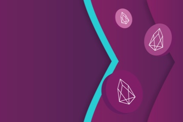 EOS logo on chips floating on the Skrill brand purple and teal arrows