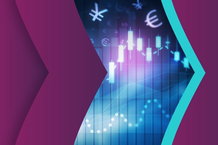 Forex trade chart, design with Skrill purple and teal brand arrows