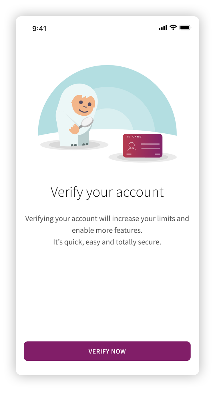 """Verify your account"" screen in the Skrill app"