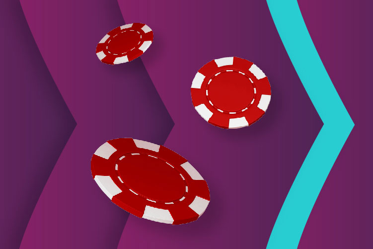 gambling chips on a purple background