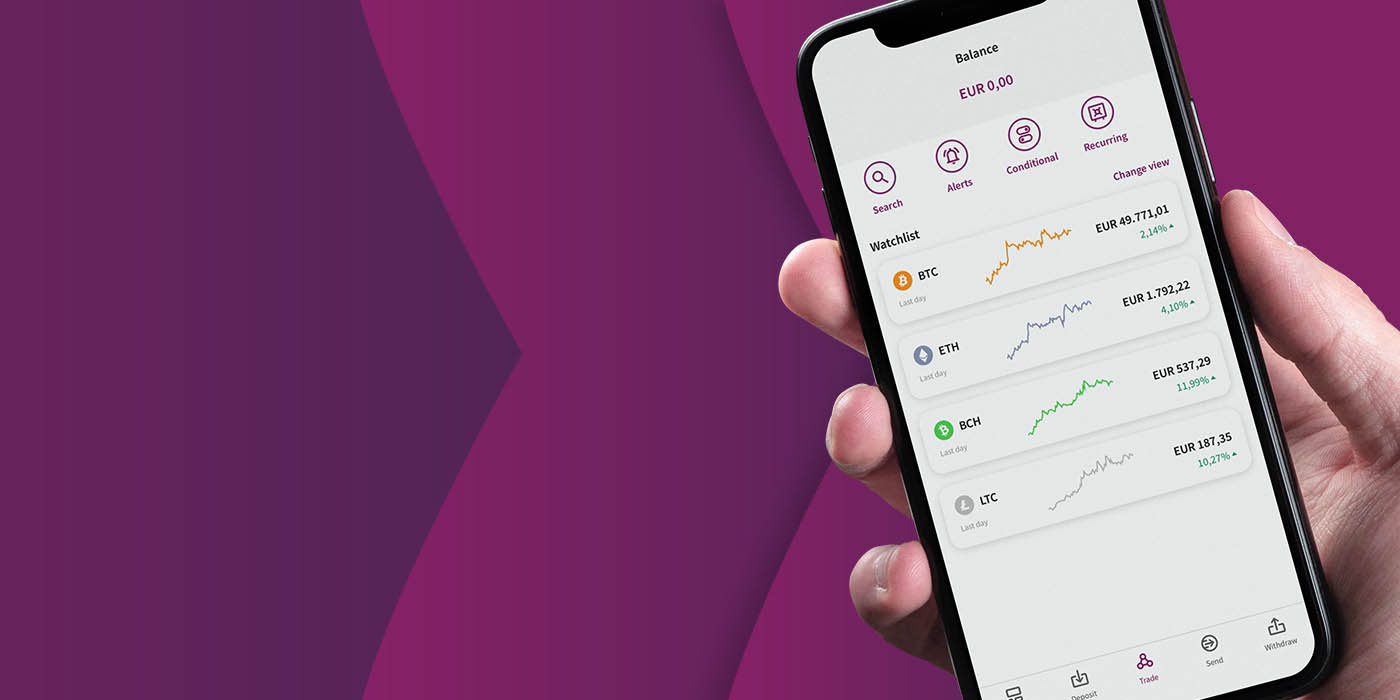 Phone with open Skrill app displaying the crypto dashboard