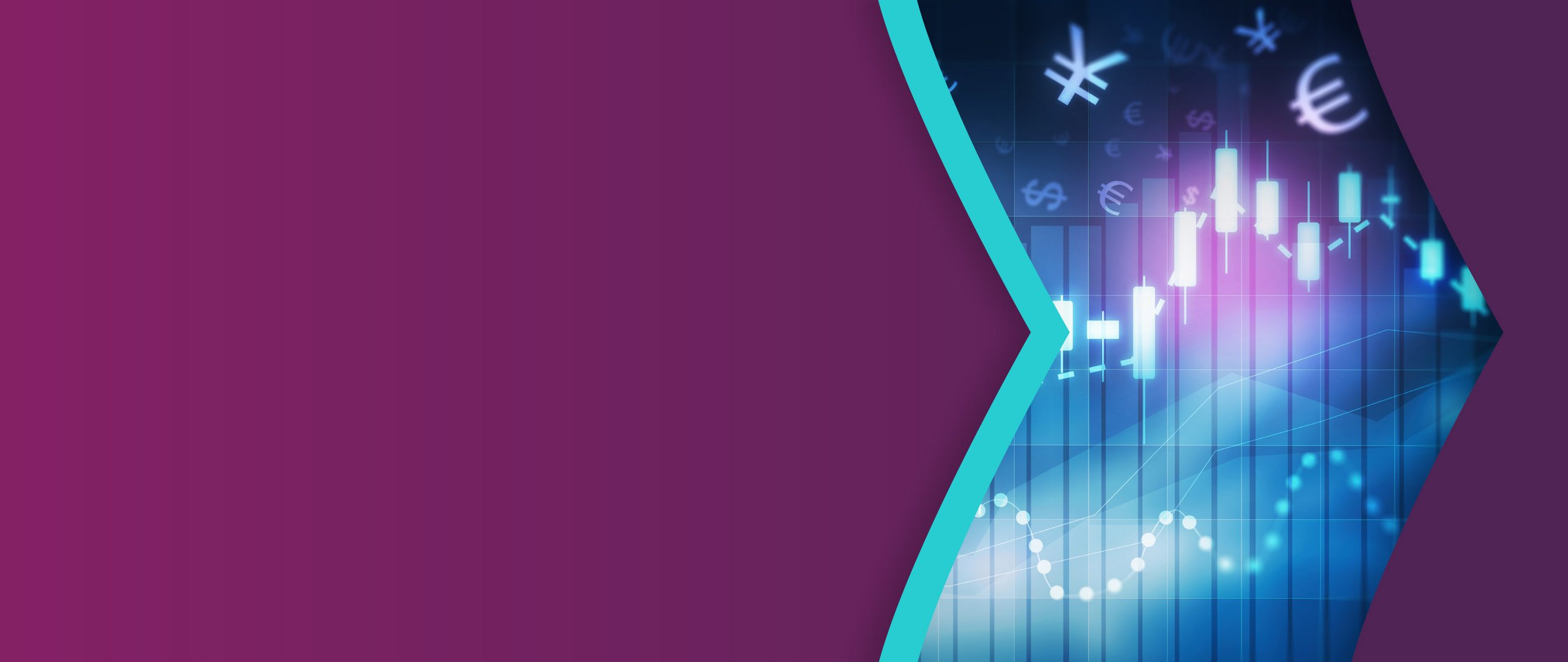 Forex trade chart, designed with Skrill purple and teal arrows