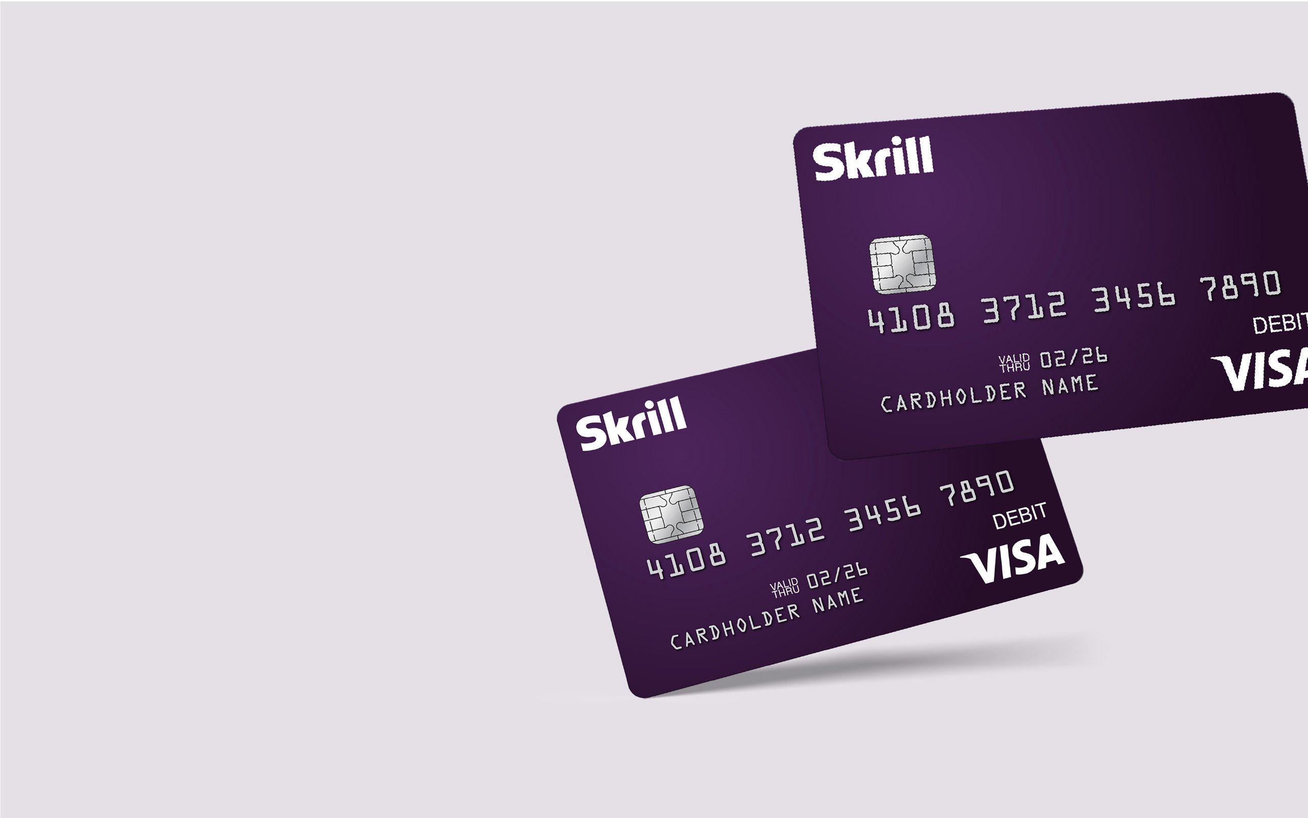 Skrill Visa card on a light purple background