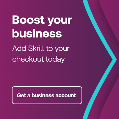 Boost your business, add Skrill to your checkout today banner with purple and teal arrows
