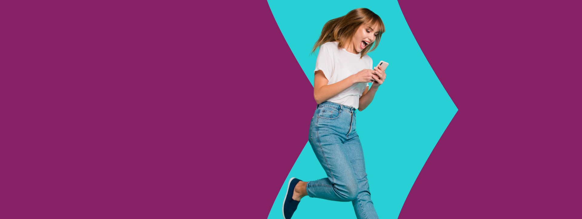 Excited lady, looking at her phone, about Skrill digital wallet benefits, brand with purple background