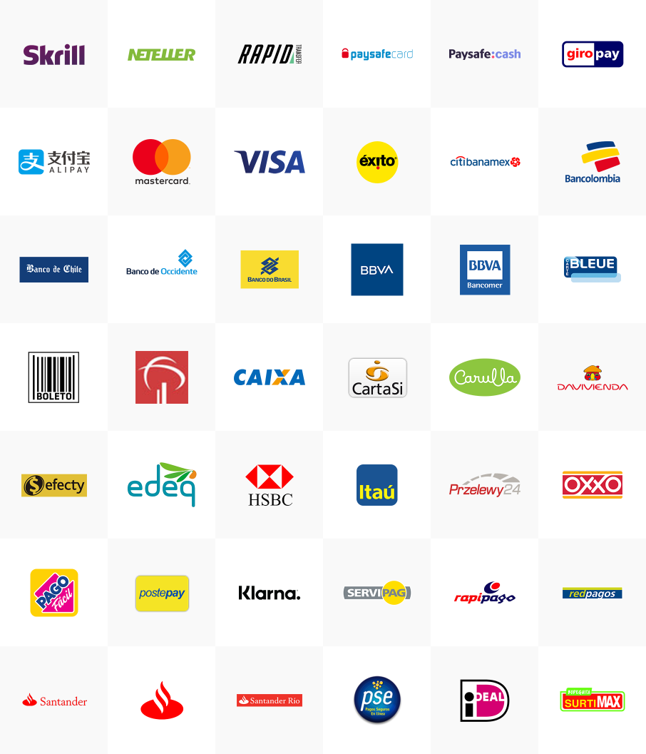 list of payment methods, supported by Skrill