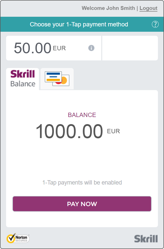 Skrill 1-tap screenshot of payment gate