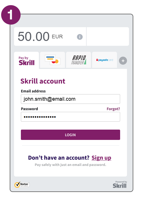 Payment flow step 1 log in to your Skrill account