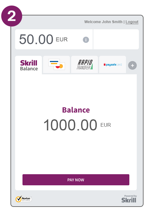 Payment flow step 2 screenshot pay with Skrill balance