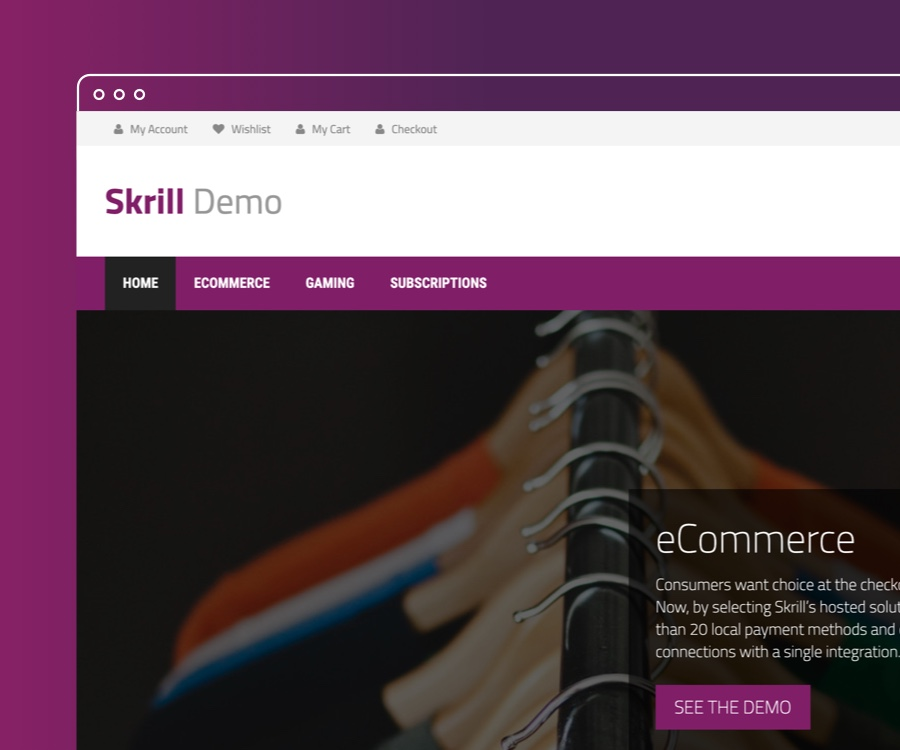 Skrill demo website screenshot, integration for ecommerce business